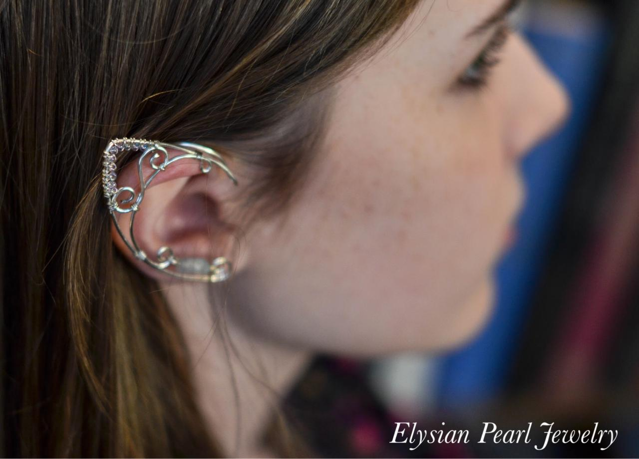 Silver elf ear cuffs with iridescent moon bead